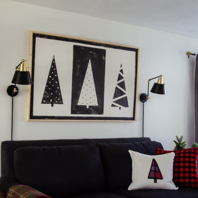 DIY Canvas Wall Art that Lights Up for Christmas