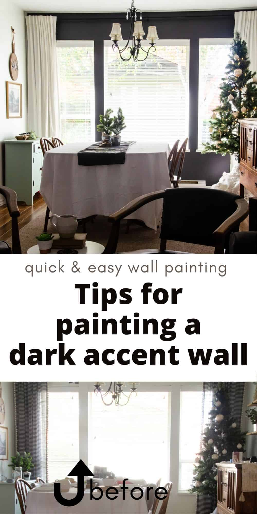 Dark Painted Accent Wall in Dining Room - a before & after collage