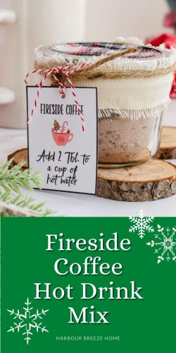 Fireside coffee mix recipe in a glass jar with a printable gift tag tied to it.