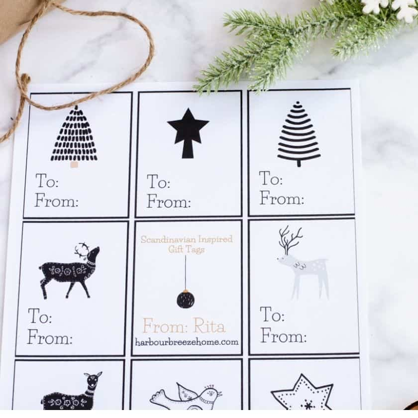 The Simplest Gift Wrapping Trick of All and Printable Christmas Gift Tags
