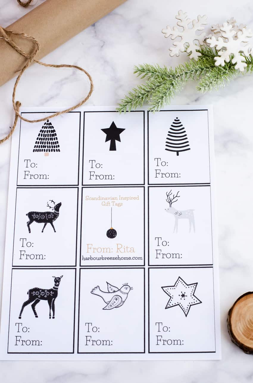 Scandinavian style printable Christmas gift tags in black, white, and gold.
