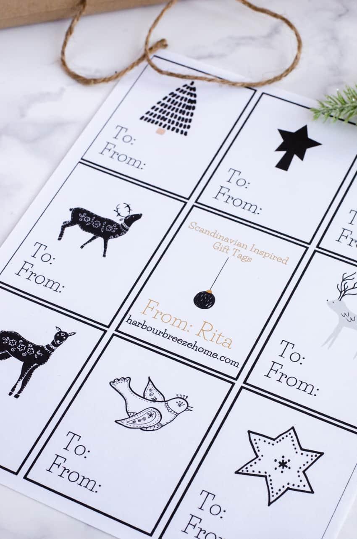 Free Printable Scandinavian Christmas Gift Tags