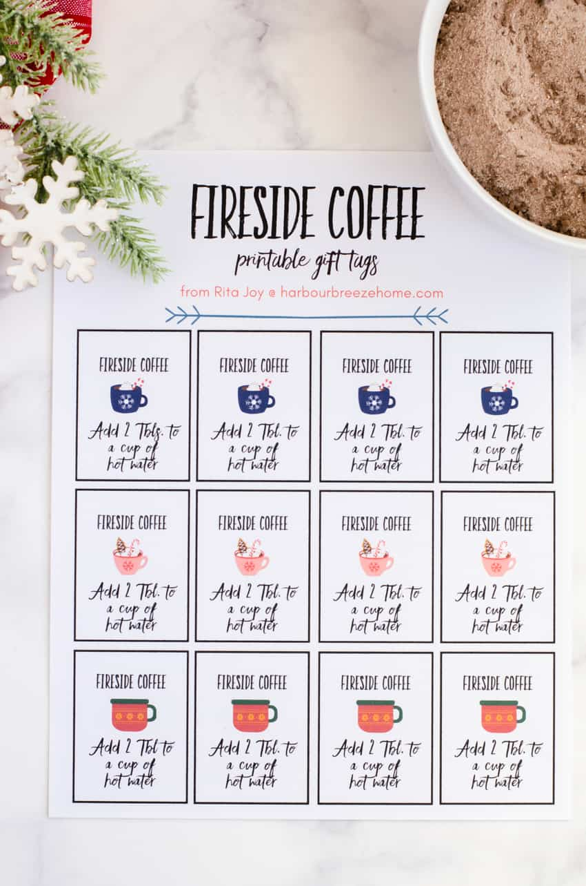 Printable gift tags for fireside coffee mix