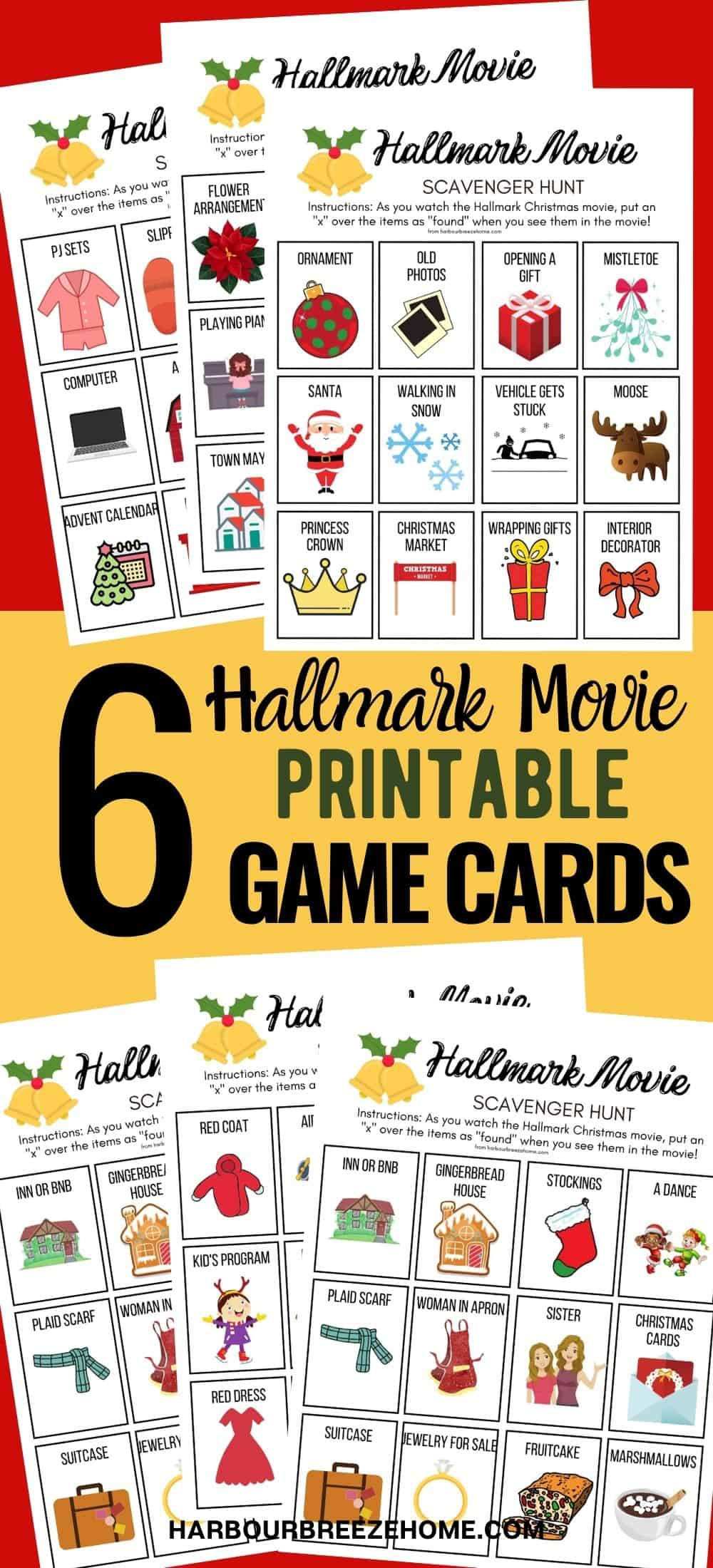 Hallmark Movie Christmas Party Game Printable Scavenger Hunt Game Cards
