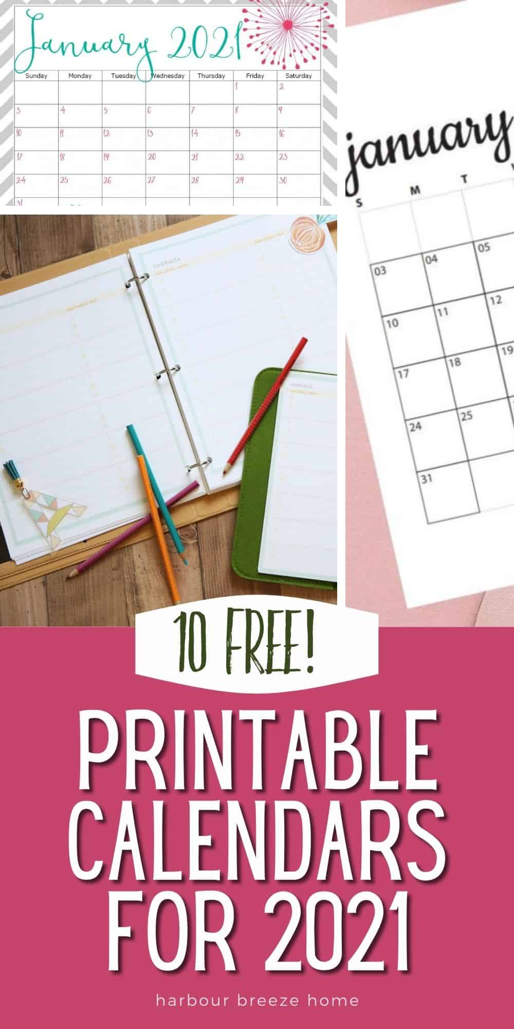 10 free printable calendars for 2021 that can be printed on your home printer.