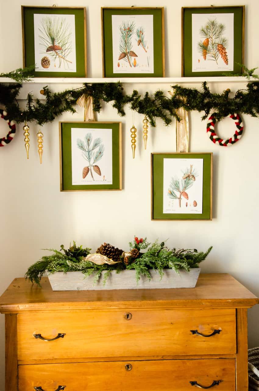 vintage botanical prints as Christmas decor above a dresser in a master bedroom.