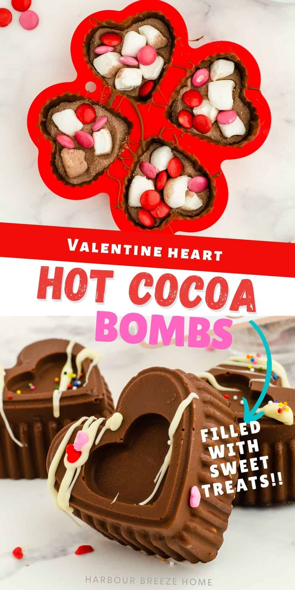 Heart Shaped Hot Chocolate Bombs for Valentine's Day