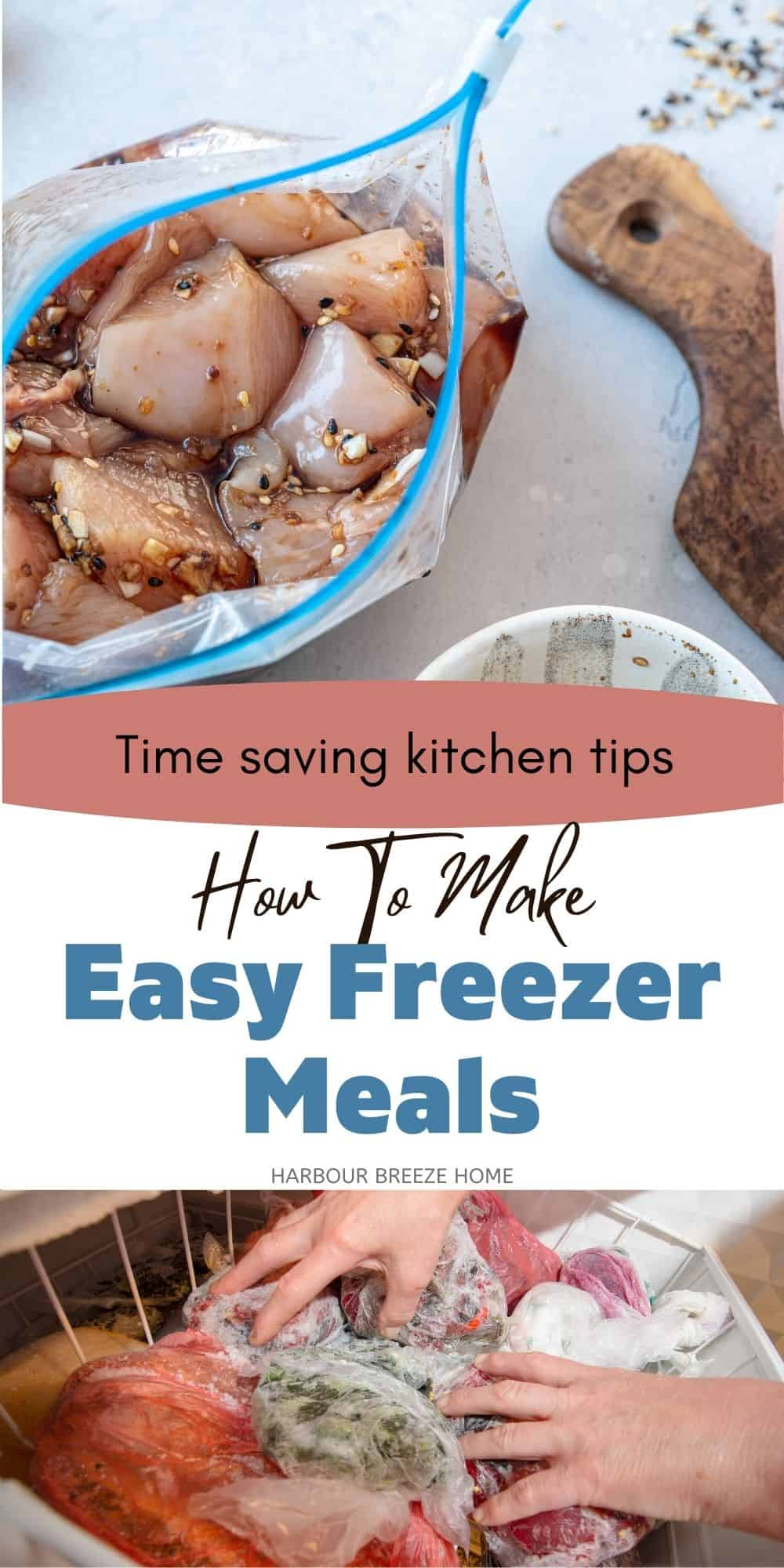 How to prepare, package and store freezer meals using time saving tips.
