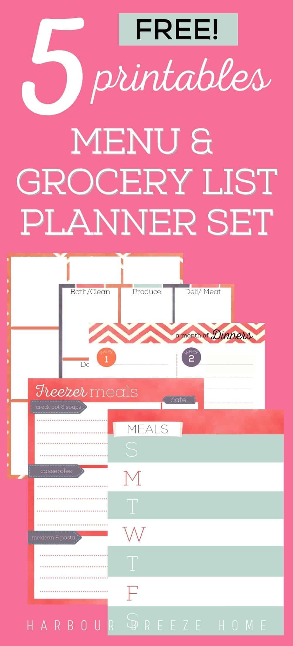 Free printable grocery lists and menu plans