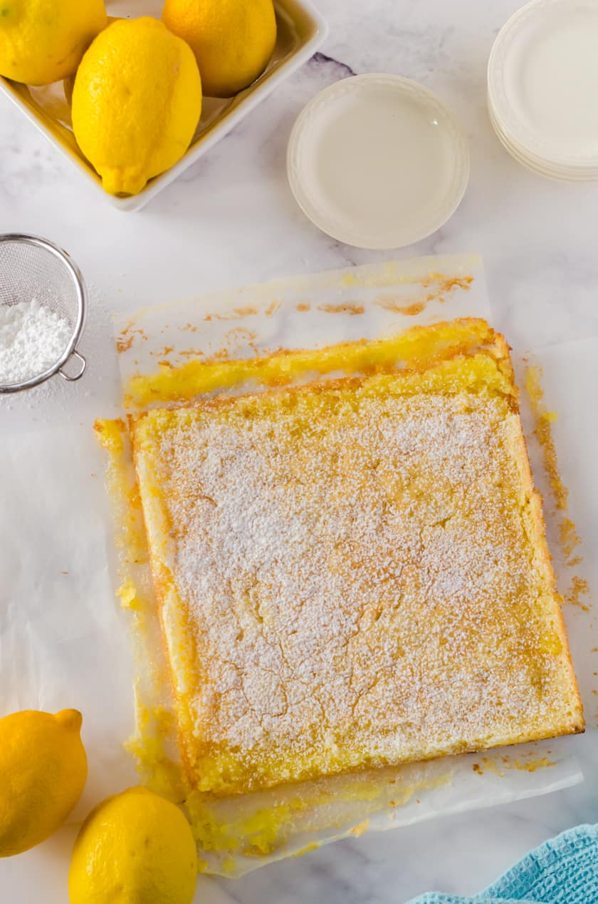 Slab of lemon bars with icing sugar sprinkled over the top.