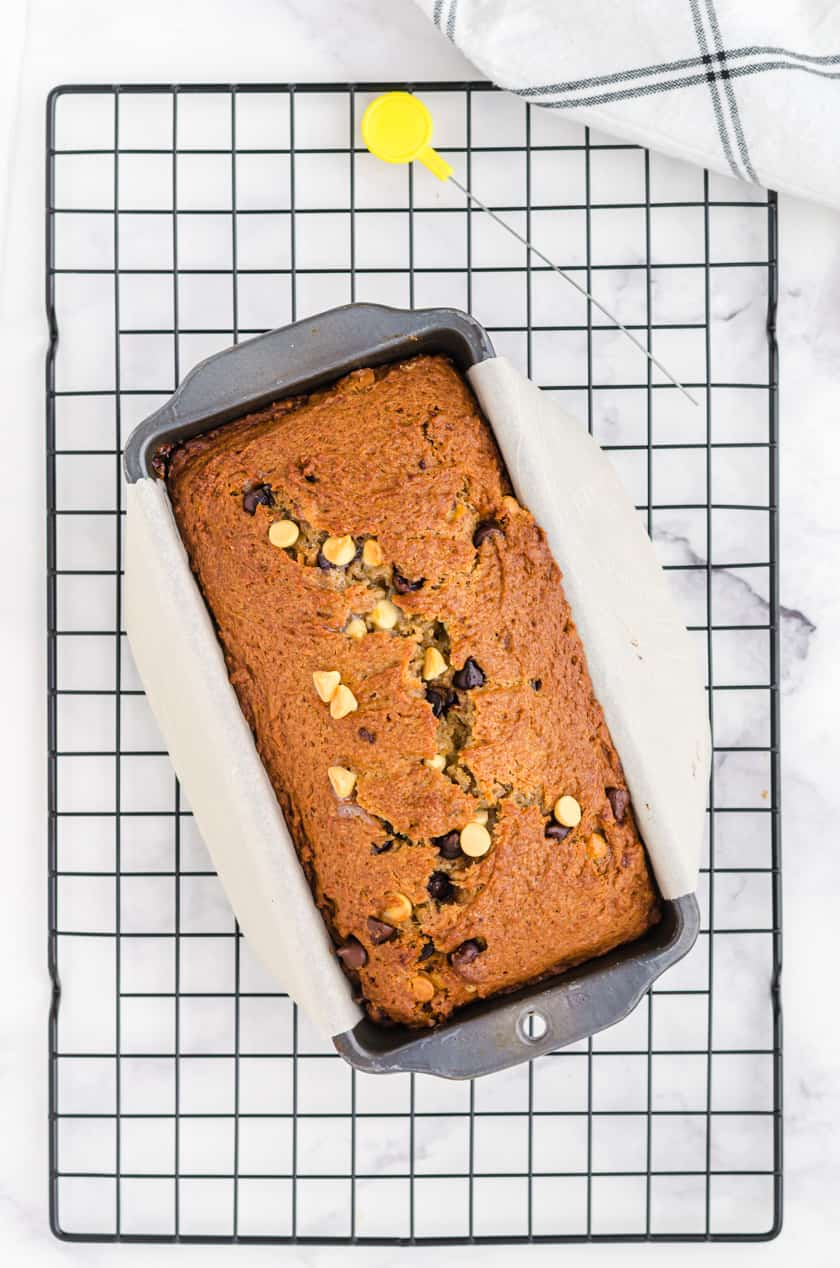 Peanut Butter Chocolate Chip banana bread in a loaf pan sitting on a cooling rack.