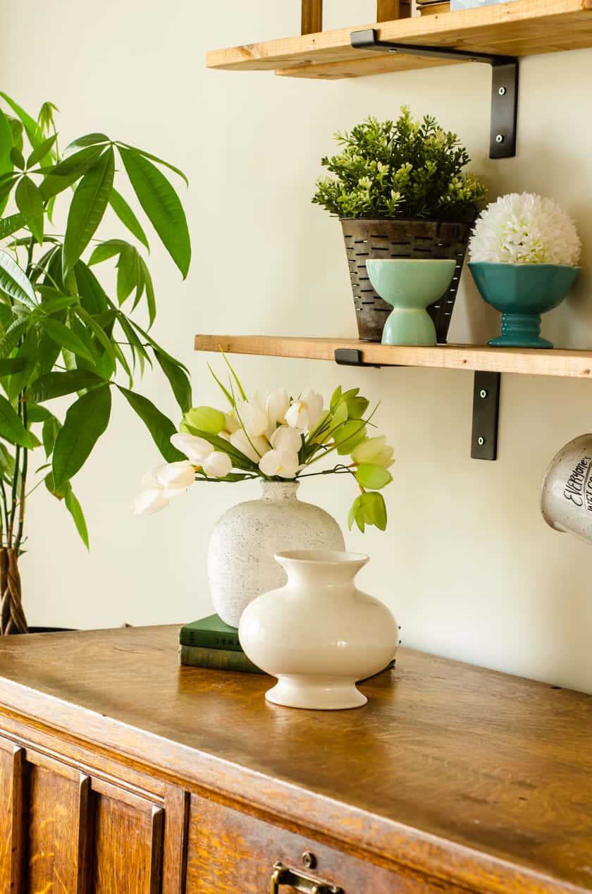 Live money tree plant near farmhouse shelves with faux plants and greenery.