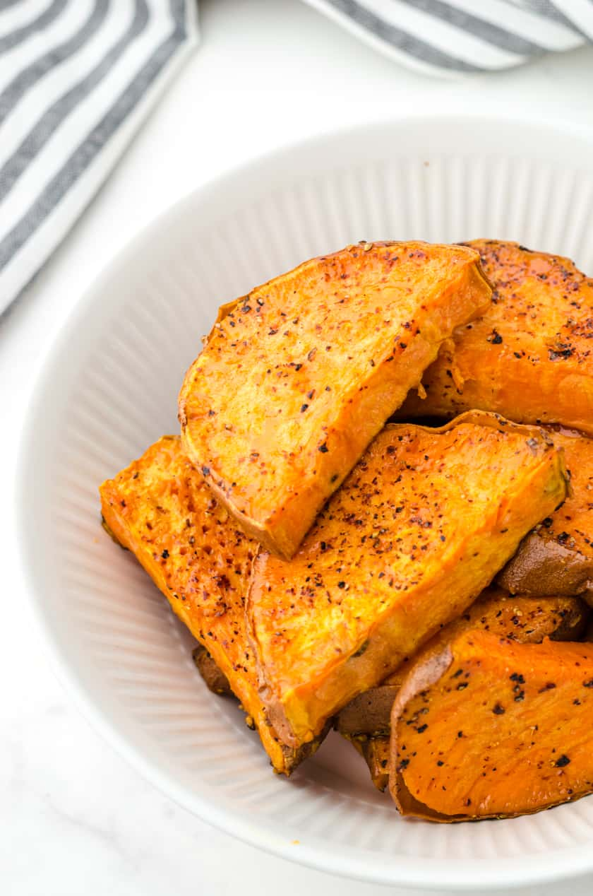 Close up of oven roasted sweet potatoes.