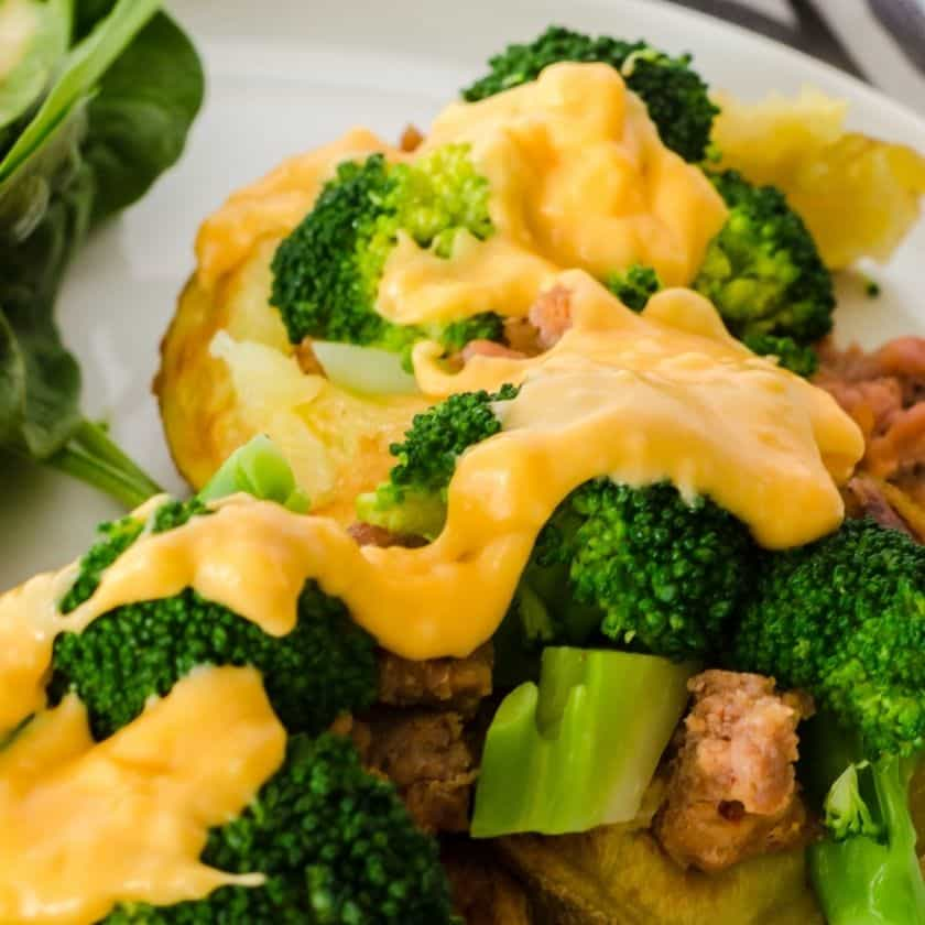 Best Loaded Baked Potato with Sausage & Cheese Sauce