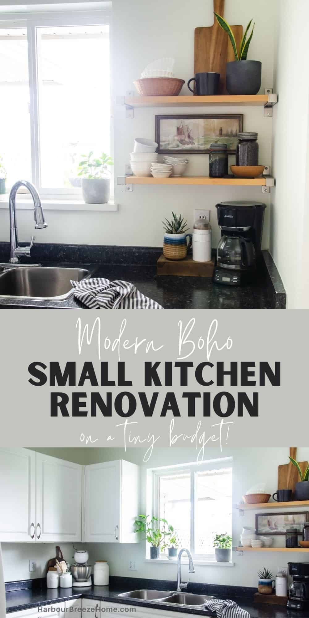 Small kitchen remodel on a budget for a modern boho look