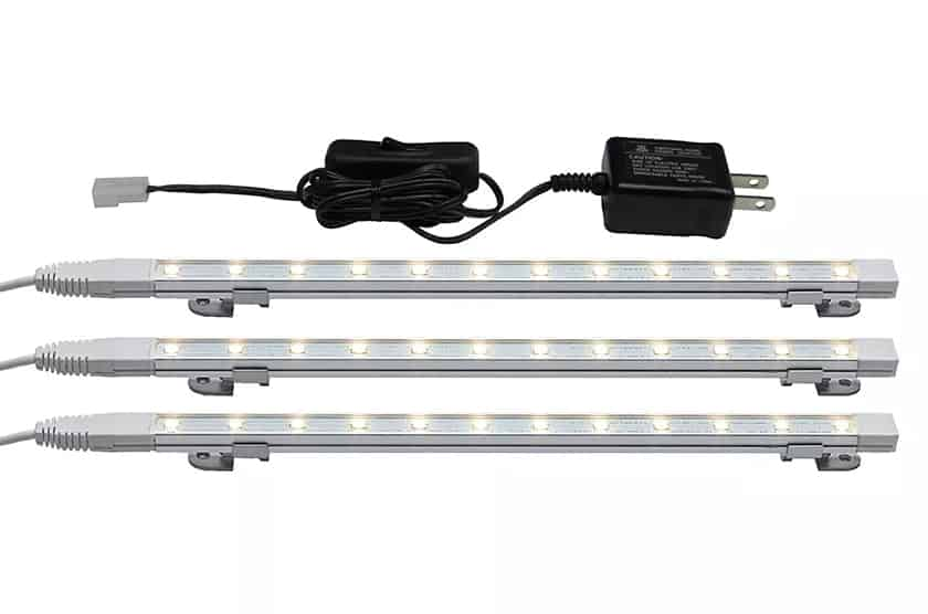 Slim LED light kit from Home Depot for above and under kitchen cabinet lighting