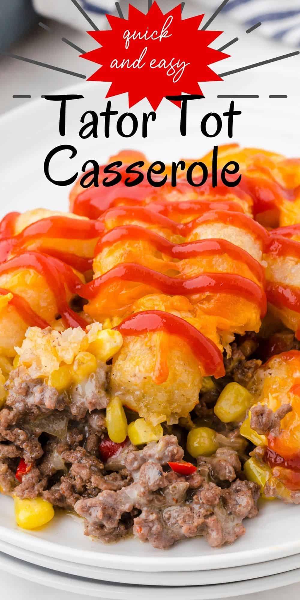 tator tot casserole dished up on a plate