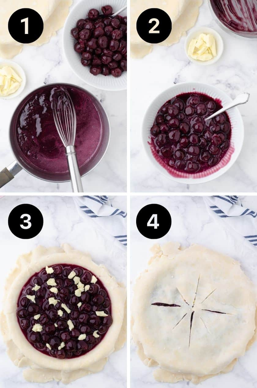 Process steps for how to make cherry pie