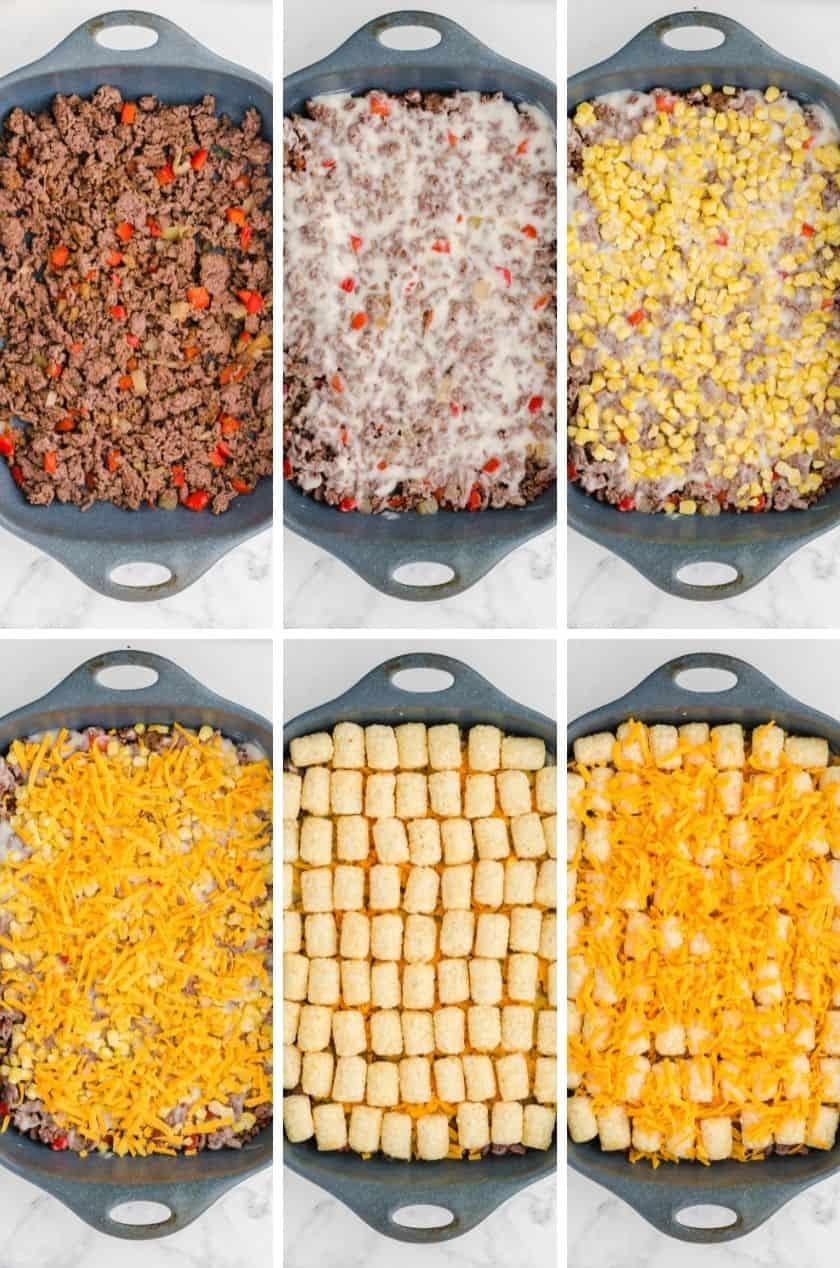 Collage of the layers of tator tot casserole being assembled.