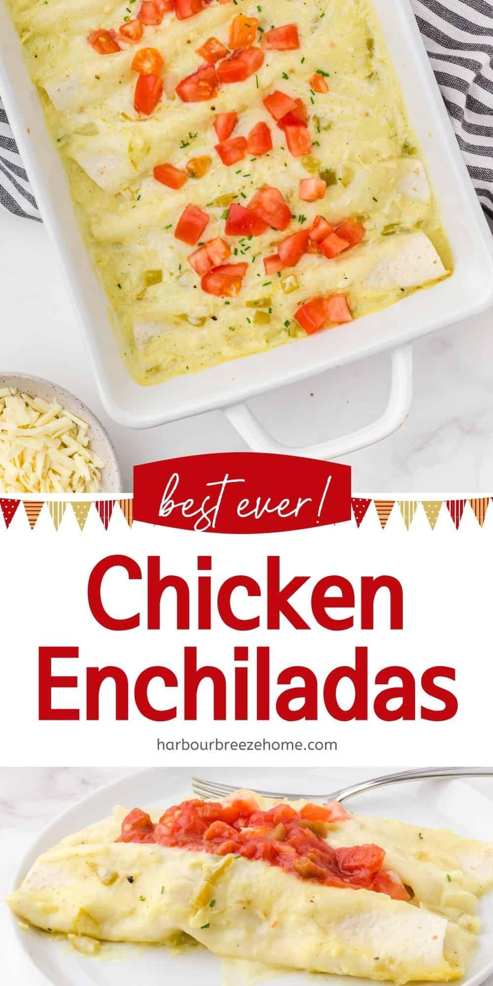 Creamy Chicken Enchiladas - an easy weeknight dinner idea or make ahead freezer meal