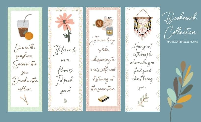 printable bookmark collection with 4 bookmarks for Summer, friends, and adult ladies.