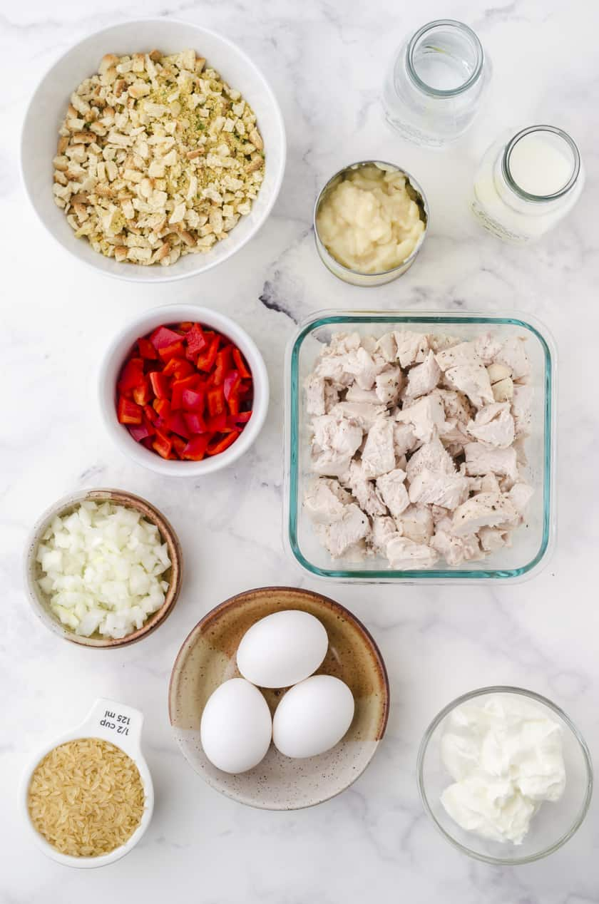 Ingredients for chicken and stuffing casserole with rice
