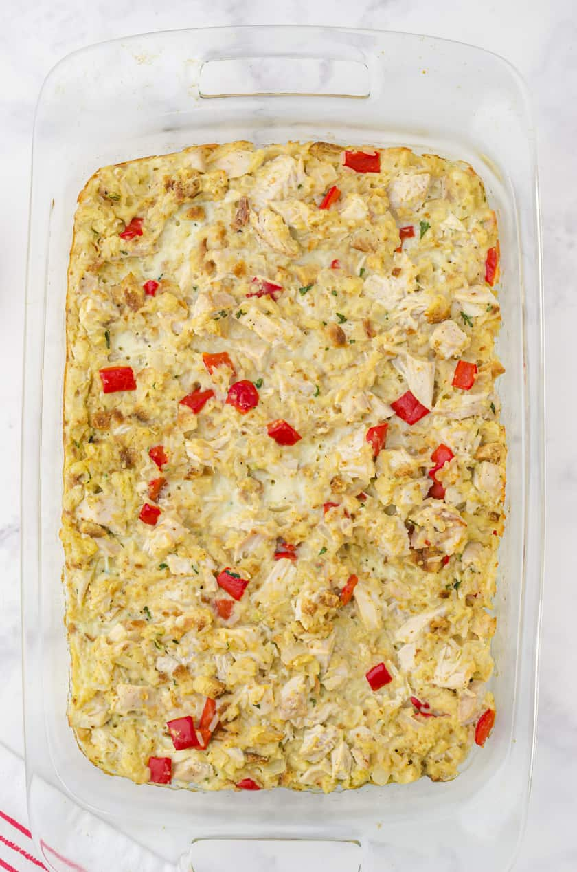 9x13 pan of chicken and stuffing casserole with rice