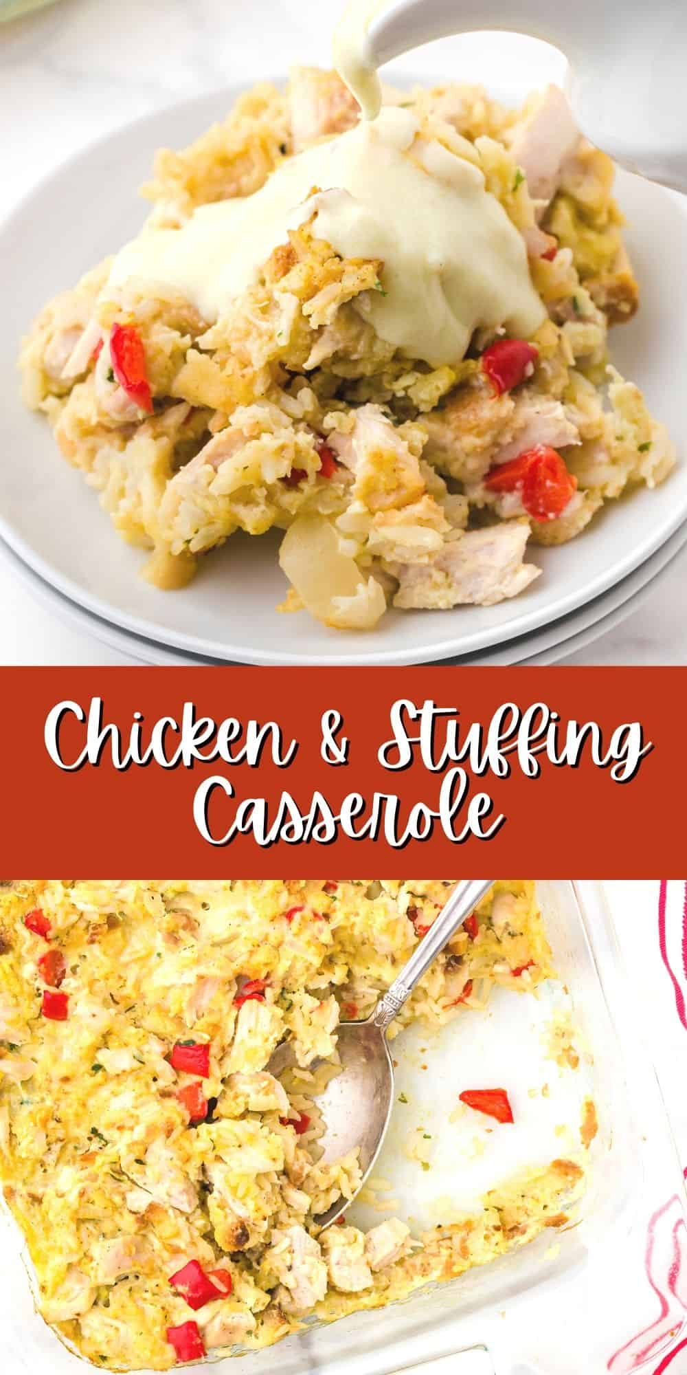 Chicken and Stuffing Casserole Recipe with rice and homemade sauce