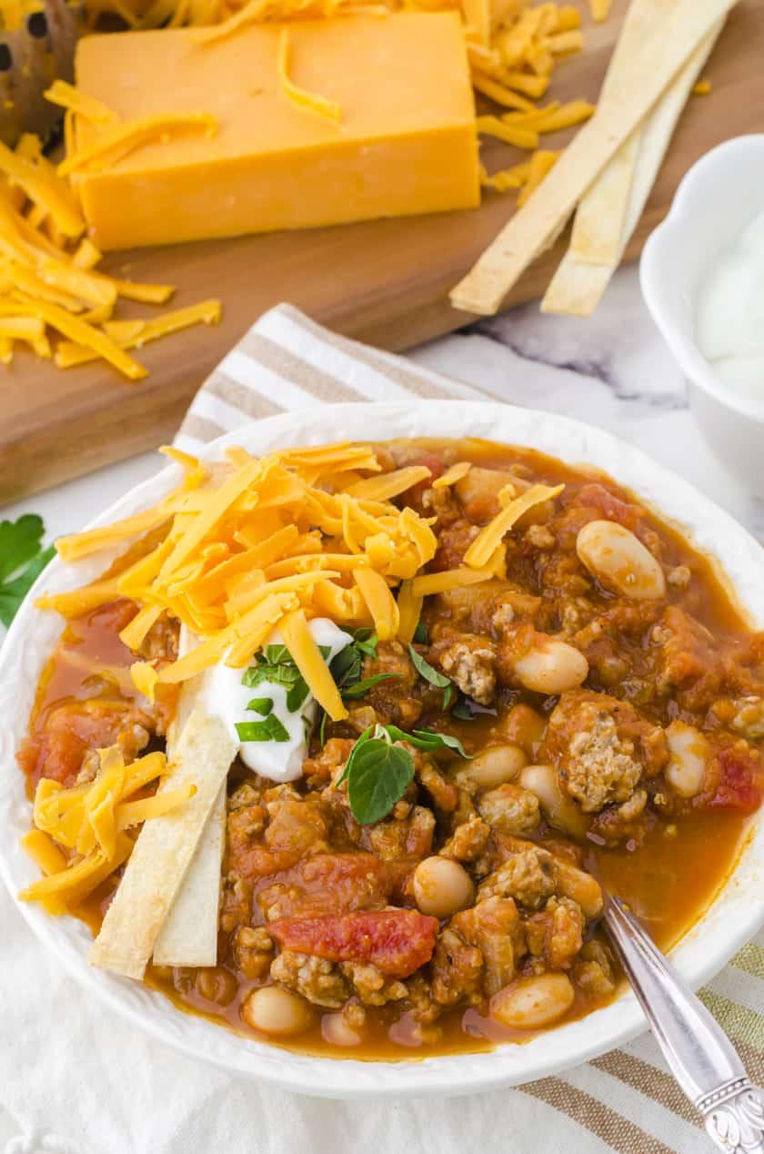 Bowl of Turkey pumpkin chili